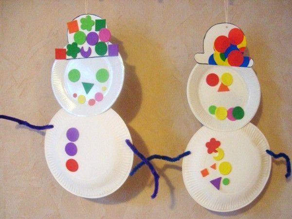 Bonhomme de neige assiette en carton centerblog - Bricolage avec des assiettes en carton ...